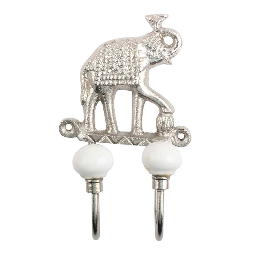 Silver Elephant Iron Decorative Hooks