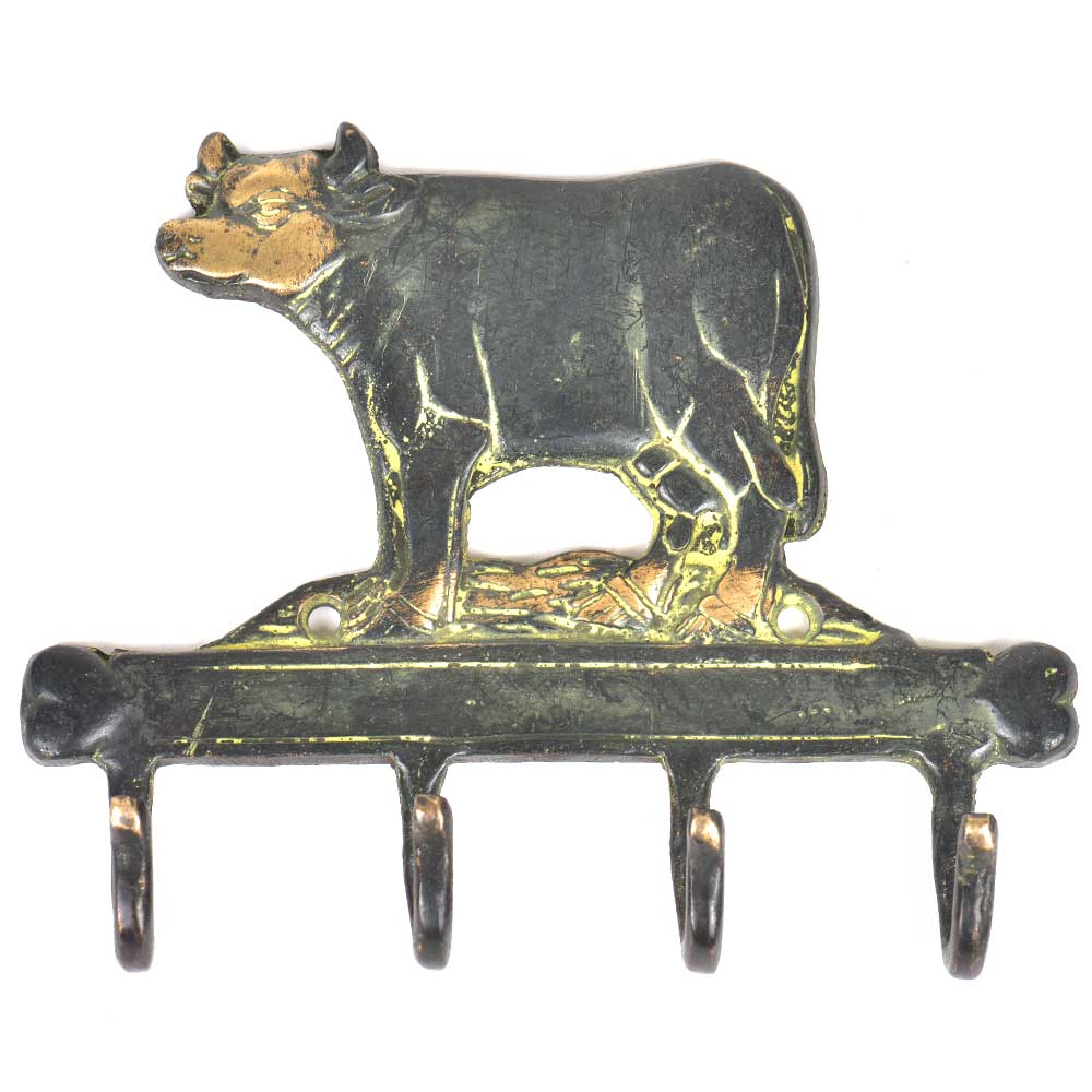 Brass Cow with 4 Hooks