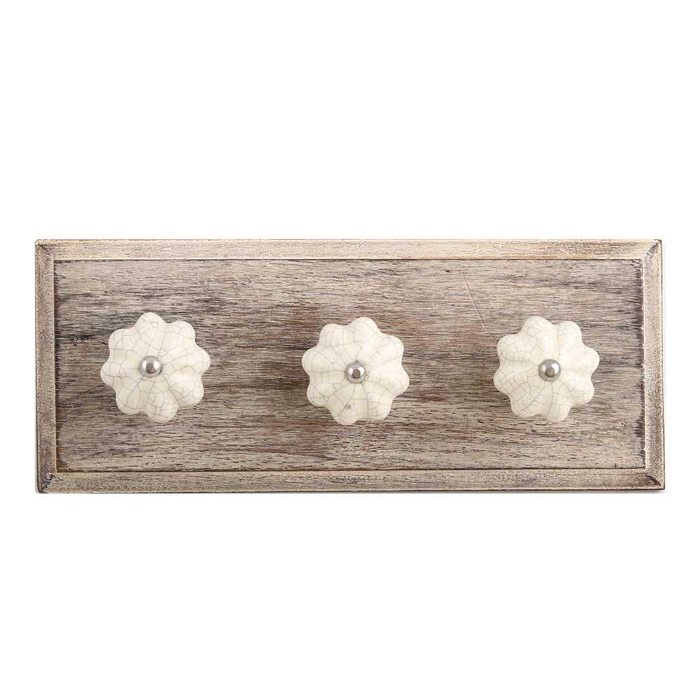 Cream Melon Crackle Ceramic Wooden Hooks