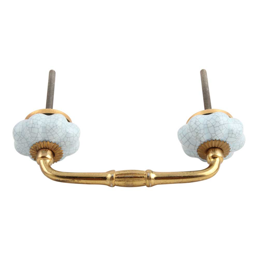 Baby Blue Crackle Ceramic Melon Bridge Handle