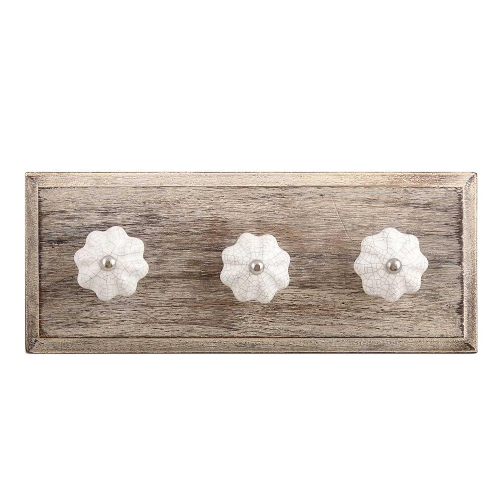 White Crackle Ceramic Melon Wooden Hooks