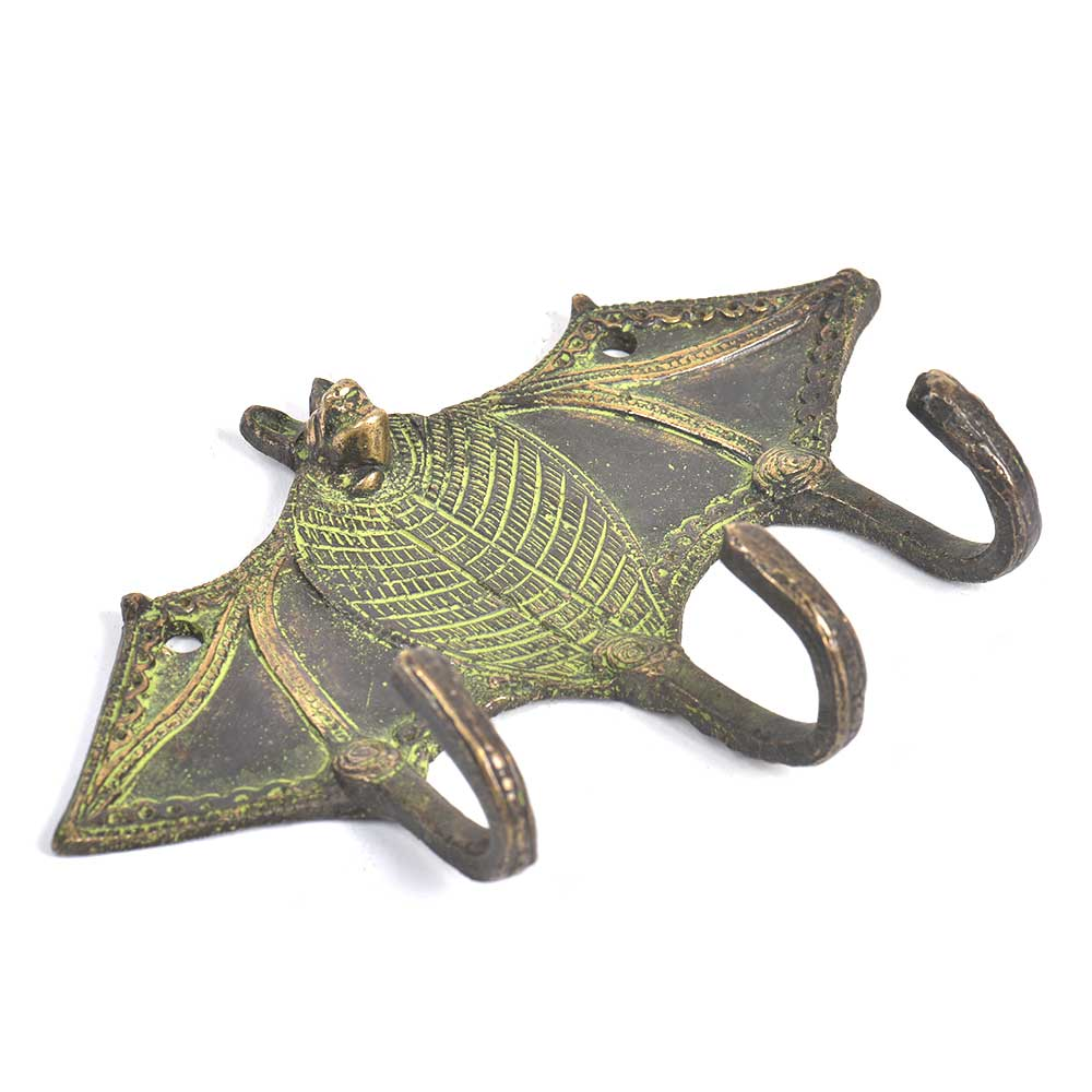 Brass 3 Hooksed Bat Hooks with Patina