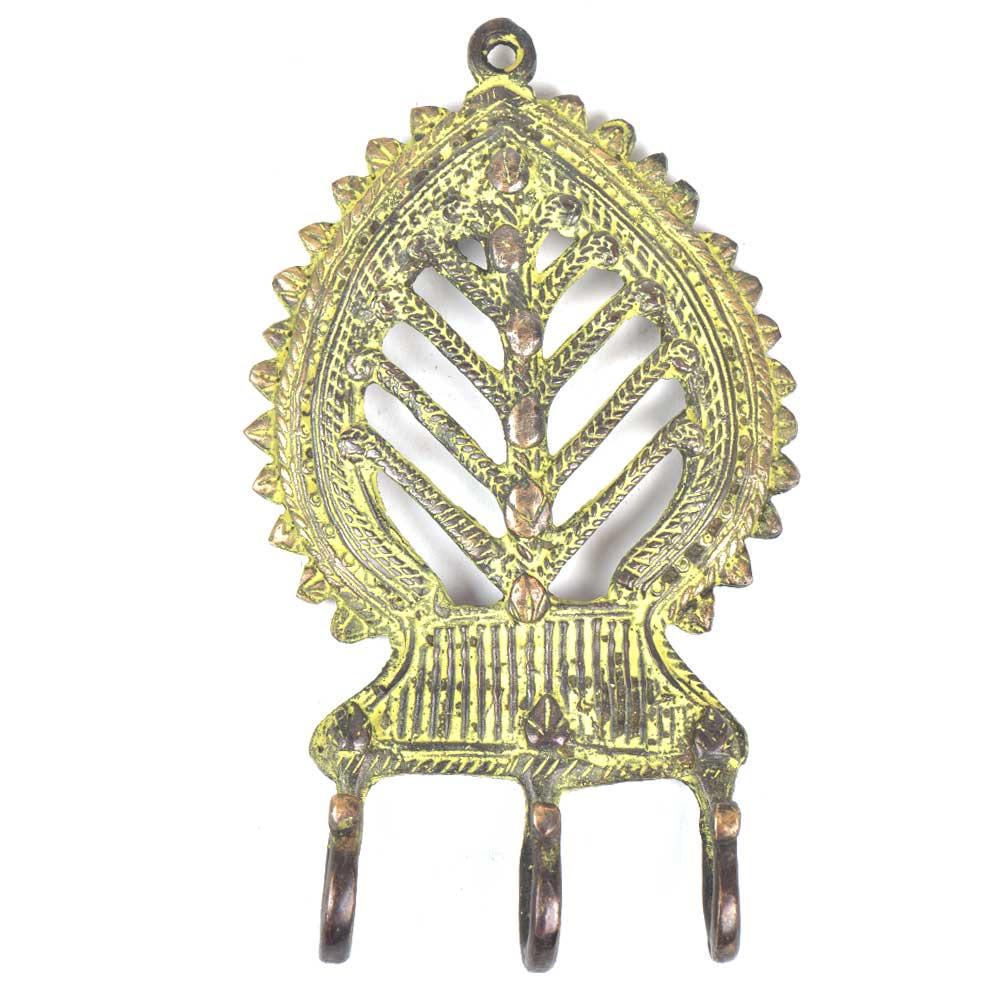 Brass Decorative 3 Hooks Leaf