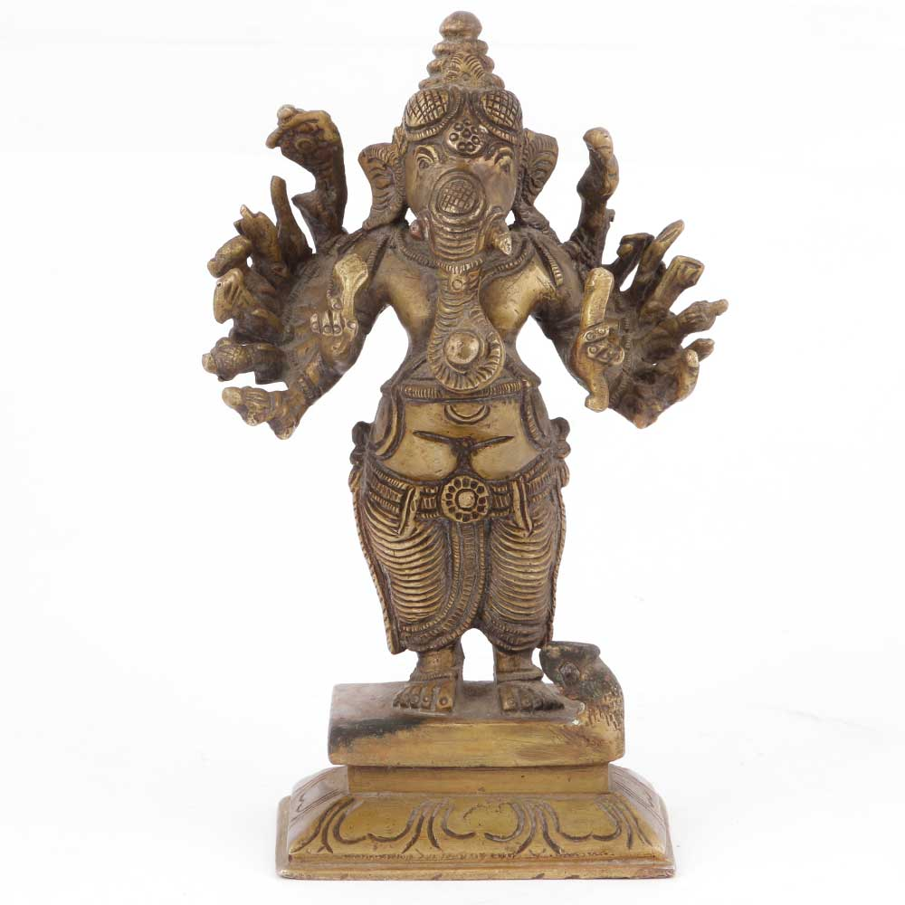 Bronze Ganesha with 14 Hands Figurine