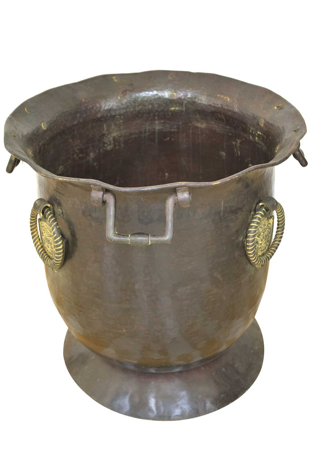 Large Bronze Urn or Vase with Patinated Handles