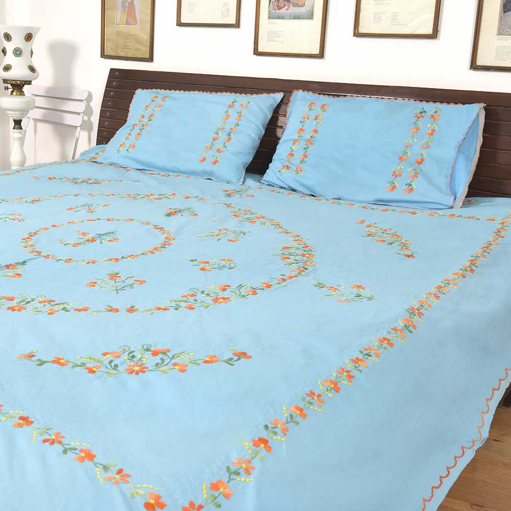 Pale Blue Cotton Embroidered Orange Flowers Double Bedsheet With Two matching Pillow Covers