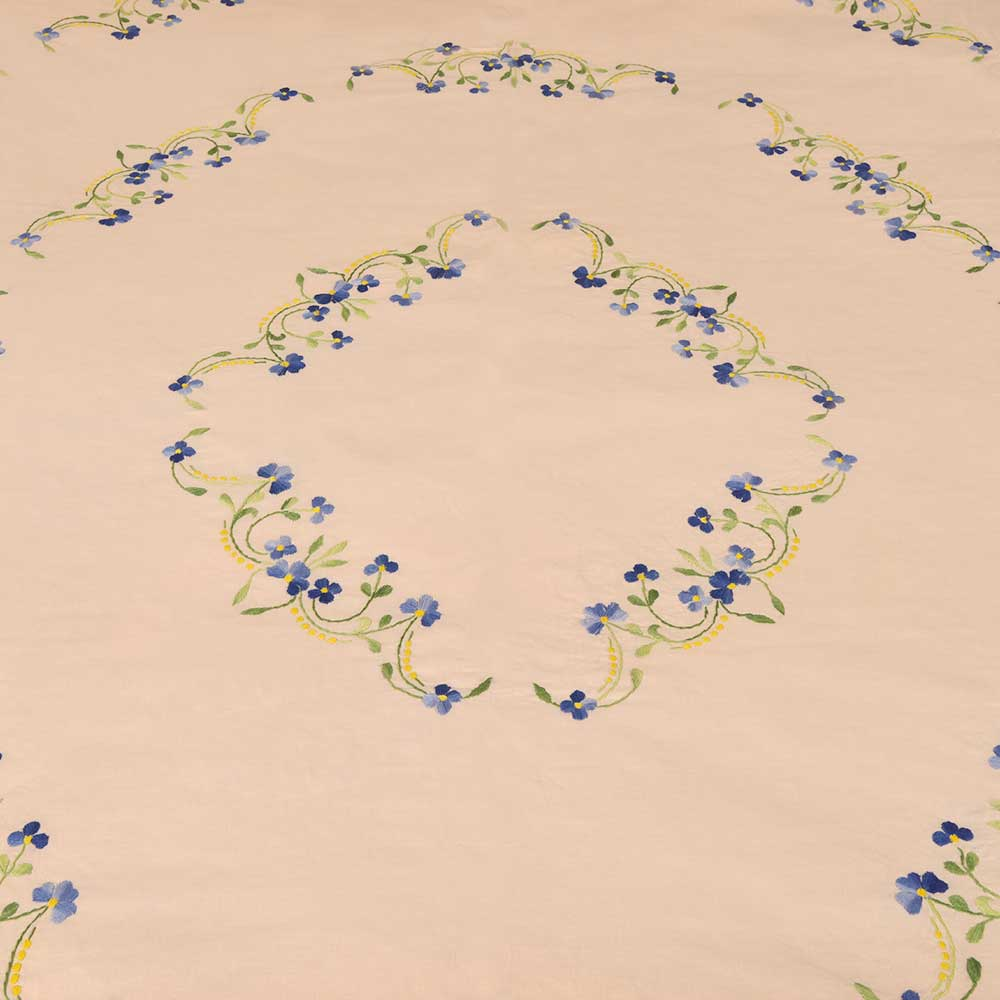 Sun Tan Cotton  Blue Petals Floral Double Bedsheet With Two Matching Pillow Covers