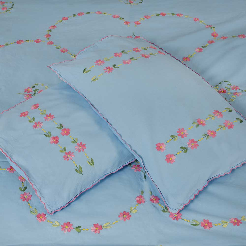 Light Blue Embroidered Cotton Double Pink Flowers Bedsheet With Two Pillow Covers