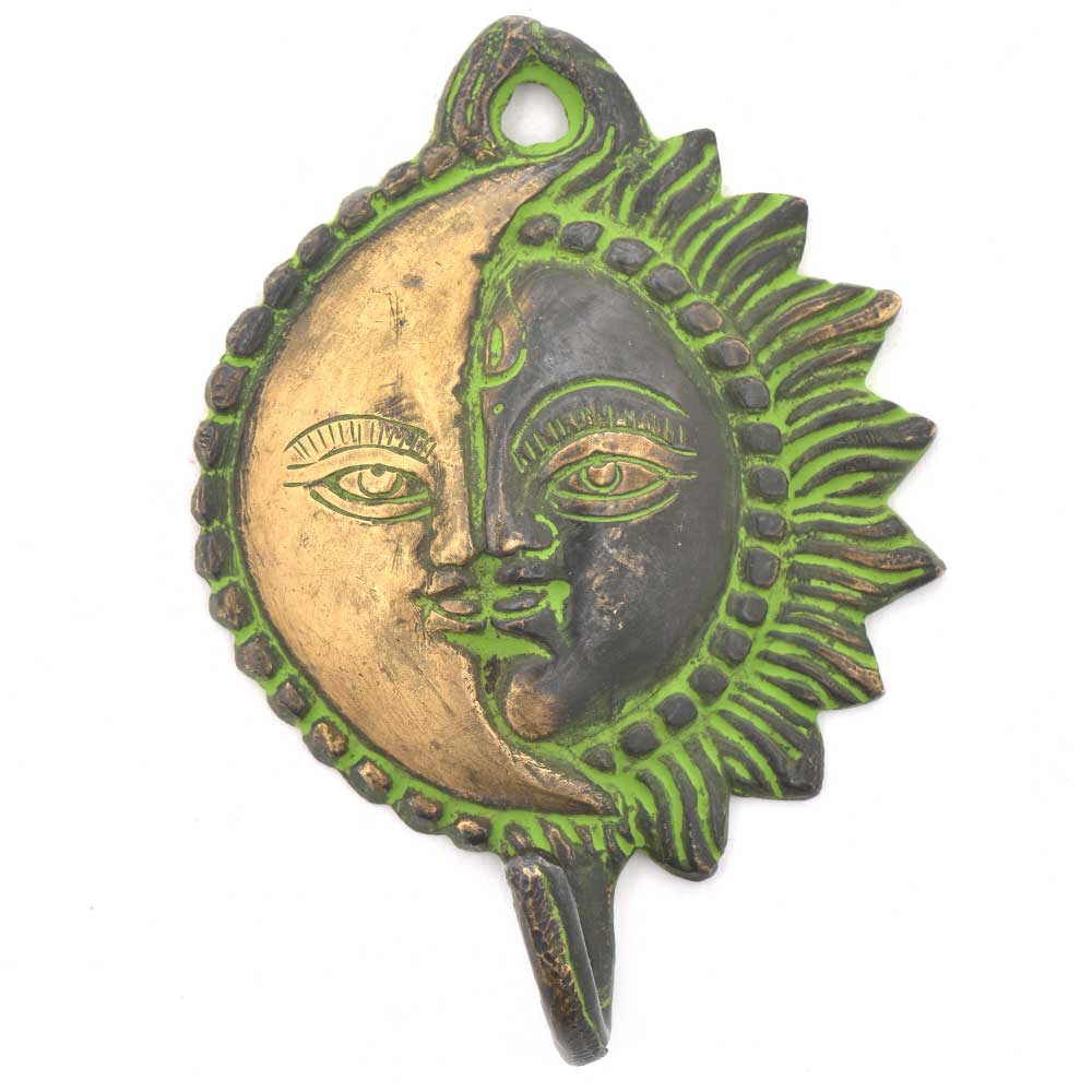 Bronze Sun Moon Hanging Wall Hook With Patina