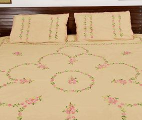 Beige  Cotton Pink Petals Embroidered Double Bedsheet with Two Matching Pillow Cases