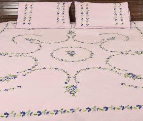 Blush Pink Cotton Embroidered Blue Flowers Double Bedsheet With Two Matching Pillow Covers