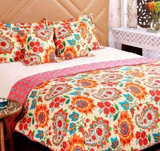 Turu  Cotton Bedding And Quilt Set of 5:Blossom