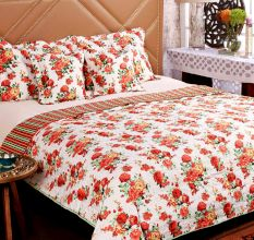 Turu  Cotton Bedding And Quilt Set Of 5:Floral Design