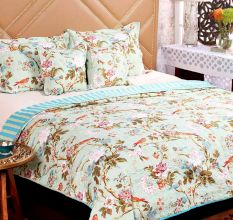 Turu  Cotton Bedding And Quilt Set Of 5: Jade Garden