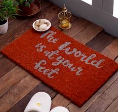 SWHF VBC Natural Printed Door And Floor Mat : The World Is At Your Feet