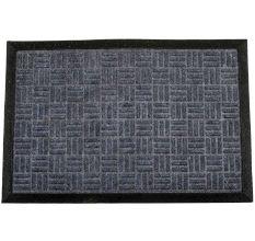SWHF PP Embossed Rubber Door And Floor Mat : Grey Criscross