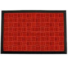 SWHF PP Embossed Rubber Door And Floor Mat : Red Criscross