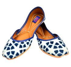 Handmade Navy Blue Animal Print Jutti
