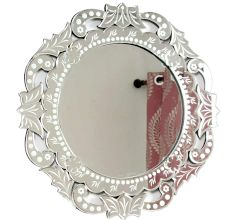 Round Floral Frame Etched Venetian Mirror