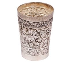 Brass Silver Polished Lassi Glass With Jungle Look And Elephant Engraved
