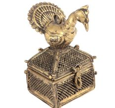 Bronze Dhokra Art Jewellery Box With A Bird On It