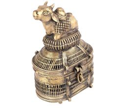 Bronze Dhokra Art Jewellery Box With A Nandi Sitting On It