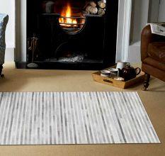 SWHF Large Leather Rug Stripes: Grey