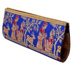 Persian Blue Mythological Weave Pure Silk Baluchari Clutch Bag