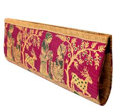 Pink Mythological Weave Pure Silk Baluchari Clutch Bag