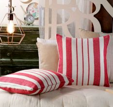 SWHF Cushion Cover: Red Stripes, Set of 2