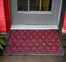 SWHF Panama Geometric Coir Mat Dyed Red: Large