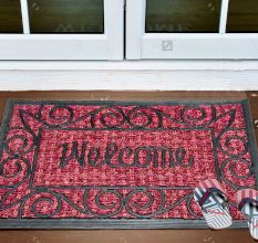 SWHF Panama Welcome Coir Mat Dyed Red: Large