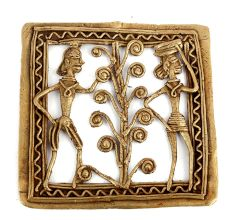 Bronze Dhokra Wall Art Hanging 2 Tribal People With A Tree In The Centre And Woman Carrying Wood