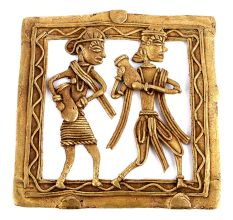 Bronze Dhokra Wall Art Hanging 2 People Carrying Pots