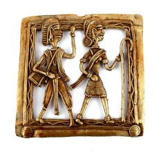Bronze Dhokra Wall Art A Woman Walking With Stick And Man Walking Behind Her