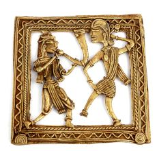 Bronze Wall Hanging Dhokra Art Man Playing Saxophone And Woman Dancing