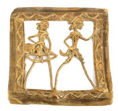 Bronze Dhokra Wall Art With 2 Tribal People