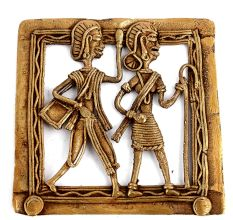 Bronze Dhokra Art Wall Hanging A Woman Walking Holding A Stick And Man Walking Behind Her