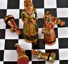 Vintage Musical Camel Bone Chess Set Gold Plated