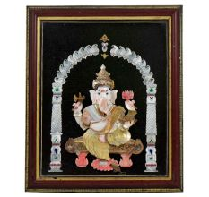 Handmade Shell Craft Ganesh Framed Painting
