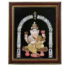 Handmade Shell Craft Ganesh Framed Painting