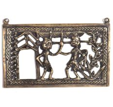 Bronze Tribal Wall Art Hanging With A Woman & Man Holding Woman Hand