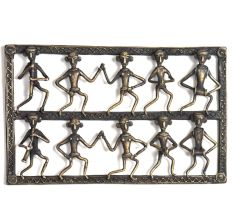 Bronze Tribal Wall Art Hanging 10 Men Dancing & Singing