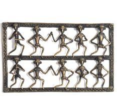 Bronze Tribal Wall Art Hanging 10 Men Dancing & Singing