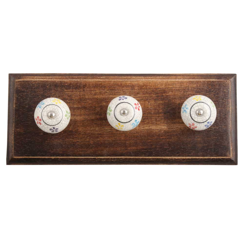 Mixed Floral Crackle Ceramic Wooden Hook