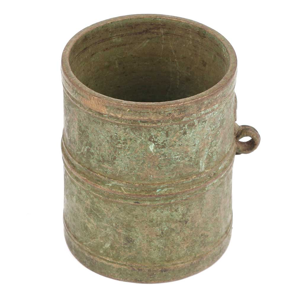 Bronze Measuring Cup With Green Patina And Handle