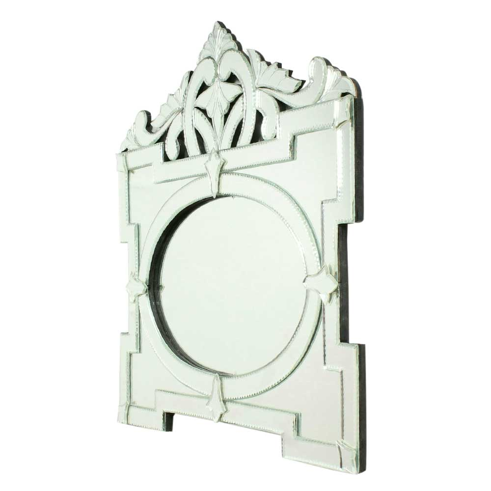 Oval Shaped Venetian Mirror in Rectangular Frame