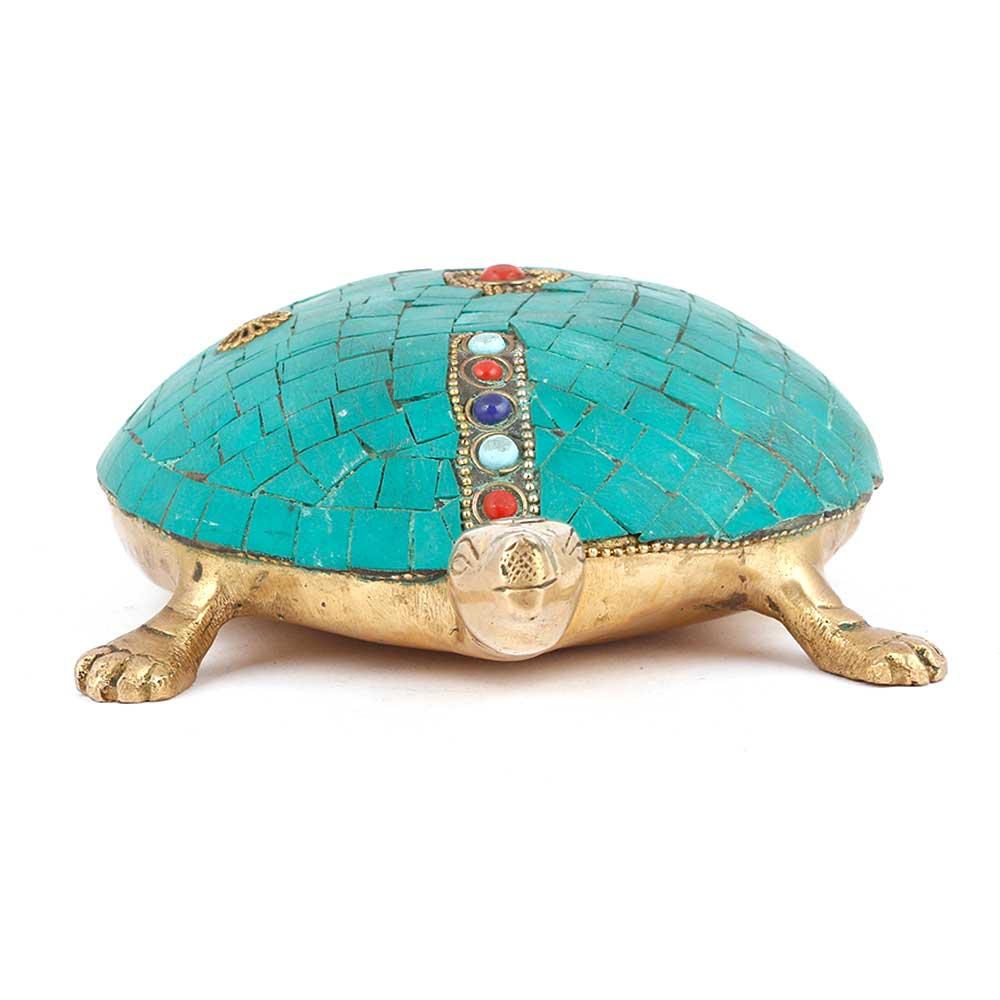 Brass Tortoise With Beautiful Stone Work