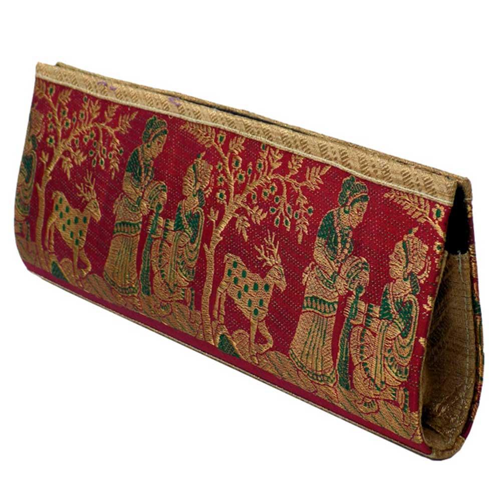 Blue Mythological Weave Pure Silk Baluchari Clutch Bag
