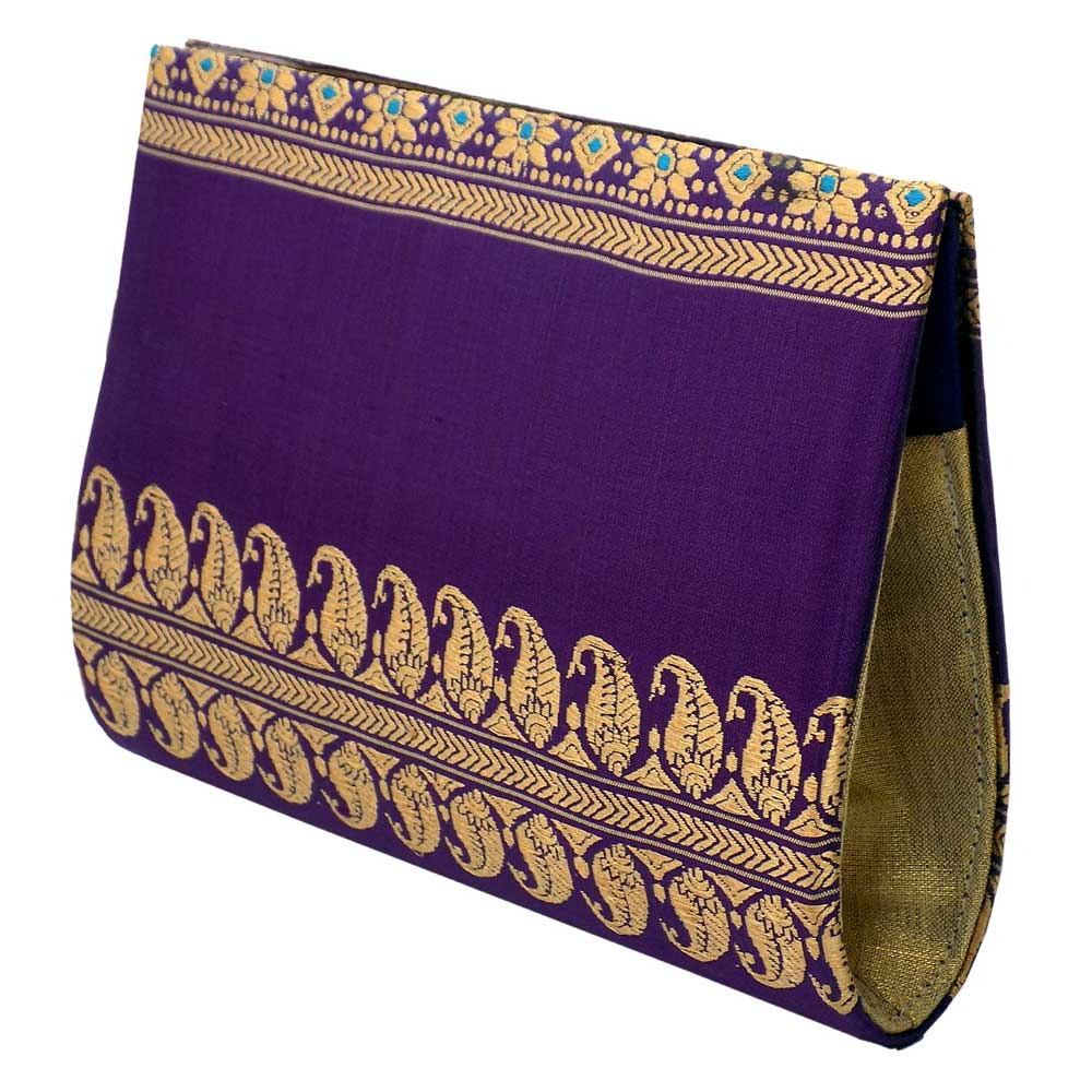 Violet Baluchari Pure Silk Clutch Bag